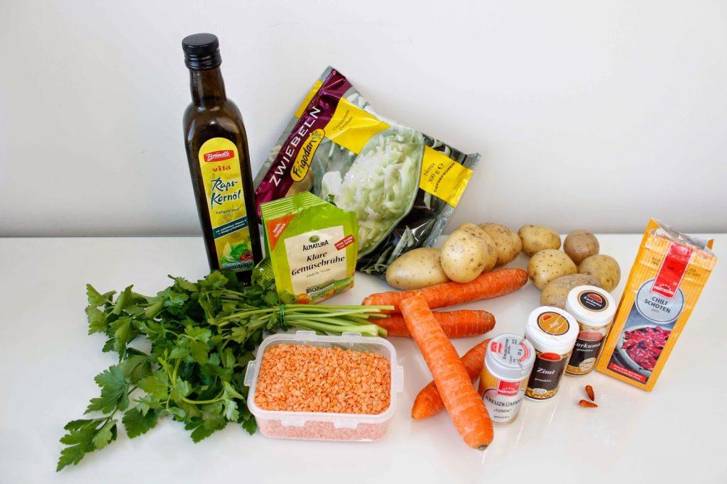 veganes kalorienarmes Rezept Orientalischer Linseneintopf mit roten Linsen
